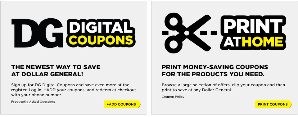 DG Digital Coupons or Print at Home. Get Coupons